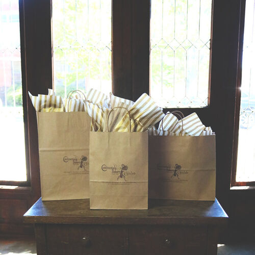 Kraft Paper Shopper Bags with Ink Imprint
