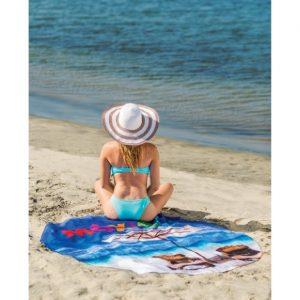 Round Subli-Cotton Velour Beach Towel